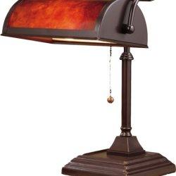 Normande Lighting 60-Watt Banker's Lamp with Mica Shade