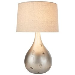 """Stone & Beam Textured Silver Table Lamp, 20"""" H, with Bulb, White Shade"""