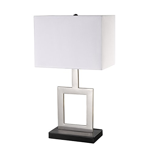 "Globe Electric Haven Table Lamp Finish, Black Base, White Shade, in-Line on/Off Rocker Switch, 21"", Brushed Nickel"