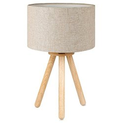 Tomons Wood Tripod Bedside Lamp, Simple Design with Soft Light for Bedroom Decorated in Warm and Cozy Ambience, Linen Lamp shade, Packaged with 4W LED Bulb, Warm White Light, 39cm High