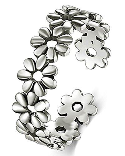 BORUO Sterling Silver Toe Ring, Daisy Flower Hawaiian Adjustable Band Ring