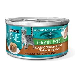 Purina One Grain Free Classic Chicken Recipe Premium Pate Wet Cat Food - (24) 3 oz. Cans
