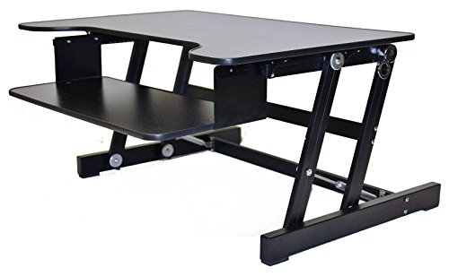 """Rocelco ADR Standing Desk - Height Adjustable Sit Stand Desk Converter - Dual Monitor Capable - 32"""" wide With Retractable Keyboard Tray - Black Finish"""