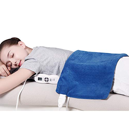 """TechLove Electric Heating Pad with Auto Shut Off Electric Moist Heated Therapy for Neck Shoulder and Back Pain Relief Extra Large 12"""" x 24"""" - Blue"""