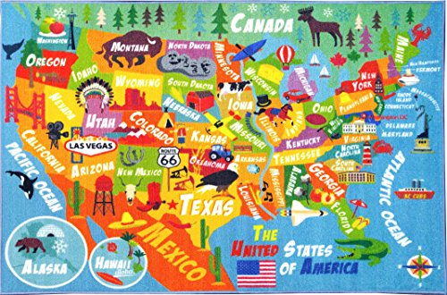 """KC CUBS Playtime Collection USA United States Map Educational Learning & Game Area Rug Carpet for Kids and Children Bedrooms and Playroom (5'0"""" x 6'6"""")"""
