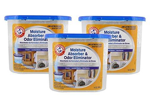 Arm & Hammer Moisture Absorber & Odor Eliminator 14oz Tub, 3 Pack - Eliminates Musty Odors