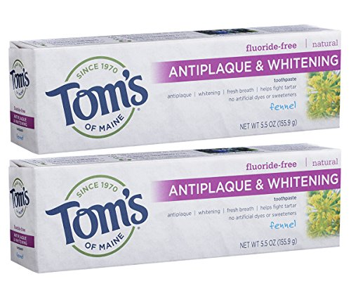 Tom's of Maine Natural Fluoride-Free Antiplaque & Whitening Toothpaste, Fennel 5.50 oz (Pack of 2)