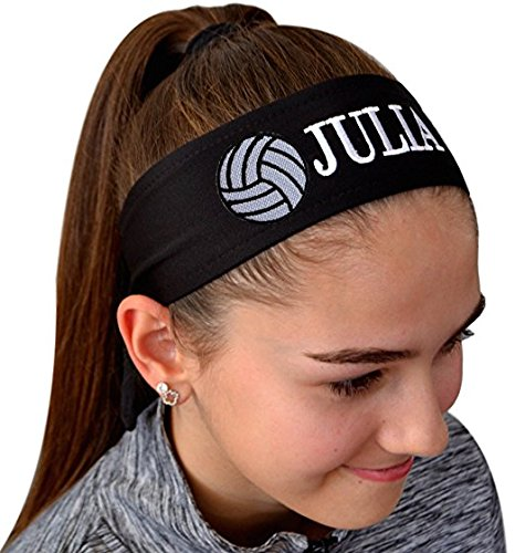 Volleyball TIE Back Moisture Wicking Headband Personalized with The Embroidered Name of Your Choice (Black Solid)