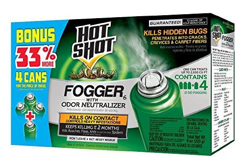 Hot Shot Indoor Pest Control Fogger, 4-Count Bonus Size