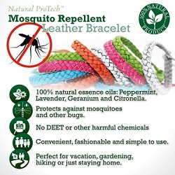 Mosquito Repellent Leather Braided Bracelet - 100% Natural Insect Repeller  10 pack, DEET Free, No Spray Pest Control Safe For Babies, Kids, Adults
