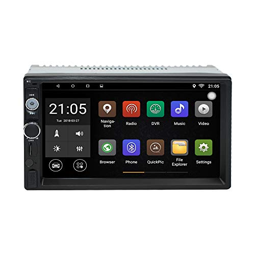 Upgraded 7 Inch Touch Screen Android 7.1 QuadCore CPU Double Din Car Stereo in Dash GPS Navigation Surport Bluetooth WiFi Car Radio Audio Vehicle Headunit with Free Rear Camera and Car Tuning Tools