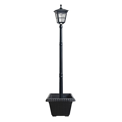 Kemeco 6 LED Cast Aluminum Solar Lamp Post Light with Planter for Outdoor Landscape Pathway Street Patio Garden Yard