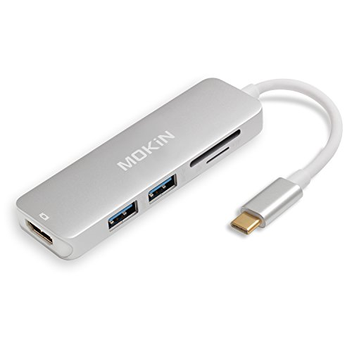 USB C HDMI Adapter for MacBook Pro 2016/2017, 5 in 1 USB-C to HDMI Output, SD+MicroSD Card Reader and 2-Ports USB 3.0 (Silver)