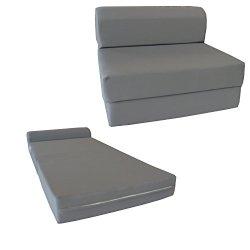 D&D Futon Furniture Gray Sleeper Chair Folding Foam Bed 6 x 48 x 72 inches, Studio Guest Beds, Sofa.