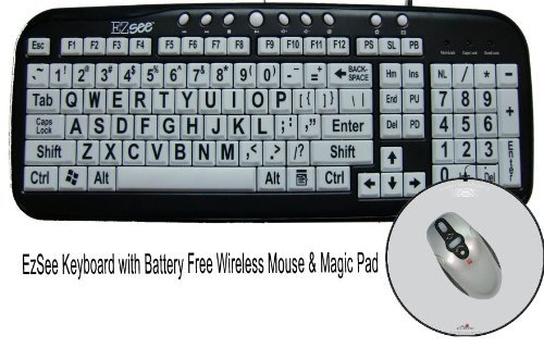 Large Print EZSee by DC - New Improved - USB Wired Computer Keyboard for Low Vision Users- White Keys with Black Letters Bundled With Battery Free Wireless Mouse & Magic Pad
