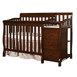 Dream On Me Jayden 4-in-1 Mini Convertible Crib And Changer, Espresso
