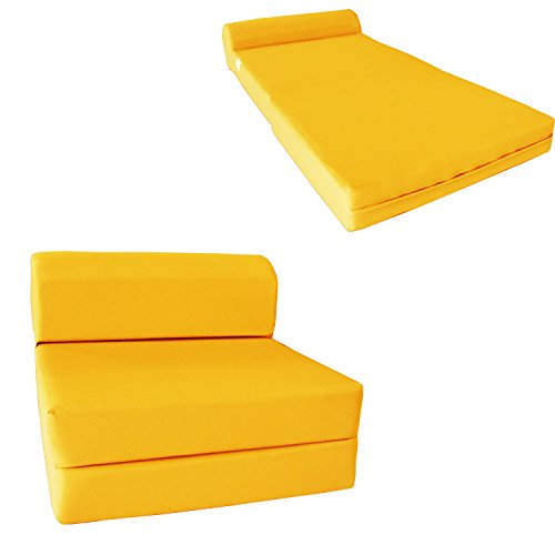 "D&D Futon Furniture 6"" Thick X 36"" Wide X 70"" Long Twin Size Yellow Sleeper Chair Folding Foam Bed 1.8lbs Density, Studio Guest Foldable Chair Beds, Foam Sofa, Couch."