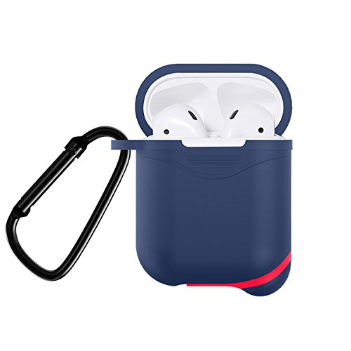 Newseego AirPods Case Full Protective Waterproof Silicone Cover Keychain Compatible Apple Airpods Portable Case-Blue