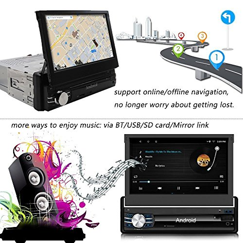 Lexxson Android 8.0 Car Navigation 2G+16G 7inch 1024x600 Super High Definition Digital Screen Built-in GPS 1.2G Quad Core Build-in WiFi 7 Color LED Backlight with Remote Control CT0013-Plus
