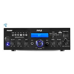 Pyle Bluetooth Stereo Amplifier Receiver [Compact Home Theater Digital Audio System] with Wireless Streaming   FM Radio   MP3/USB/SD Readers   Remote Control   200 Watt (PDA6BU)