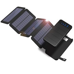 X-DRAGON Solar Charger with Foldable Solar Panel Power Bank 10000mAh Portable Rugged Shockproof Dual USB Solar Battery Charger Compatible with Samsung Galaxy ipad and More-Black