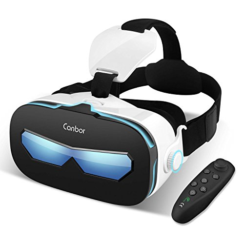 Canbor VR Headset with Remote Controller, Virtual Reality Headset 3D VR Goggles Glasses for 3D Movies and Games Compatible with 4.0-6.3 Inches Apple iPhone, Samsung Sony More Smartphones