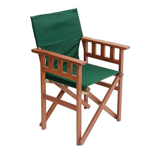 """Pangean Campaign Chair, Hardwood Keruing Wood, Hand-Dipped Oil Finish, Perfect for Patio/Deck, Matching Furniture, Folding/Portable, 20""""DL x 23.5""""W x 36""""H, Up to 250 lbs (Forest Green)"""
