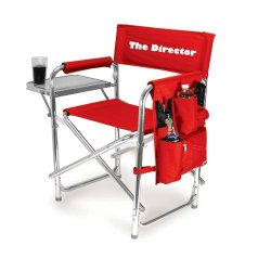 PERSONALIZED EMBROIDERED Sports Director Chair With Side Table and Pocket- Red