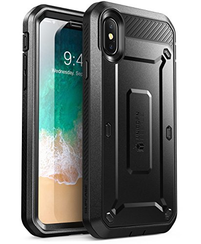 SUPCASE iPhone X, iPhone XS Case, Full-Body Rugged Holster Case with Built-in Screen Protector for Apple iPhone X 2017/ iPhone XS 2018 -Unicorn Beetle PRO Series - Retail Package (Black)