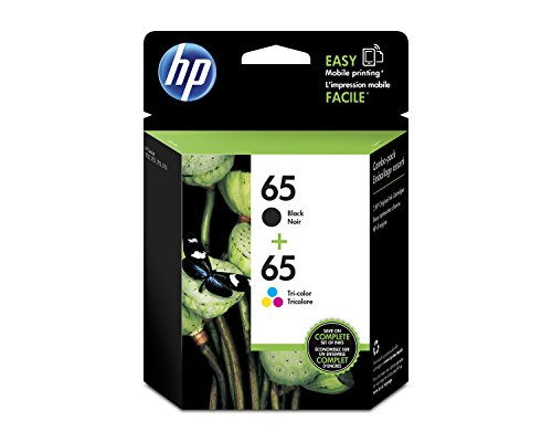 HP 65 Black & Tri-Color Original Ink Cartridges, 2 Cartridges for HP DeskJet