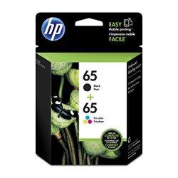 HP 65 Black & Tri-Color Original Ink Cartridges, 2 Cartridges for HP DeskJet