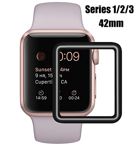 Compatible Apple Watch 42mm Tempered Glass Screen Protector, Full Coverage, Anti-Scratch, 9H Hardness, Bubble Free, Screen Protector Compatible Apple iWatch 42mm Series 3/2/1 [Black Edge]