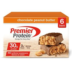 Premier Protein Nutrition Bar, Chocolate Peanut Butter, 30g Protein, 2.53 Ounce Bars (6 count in 1 Box)