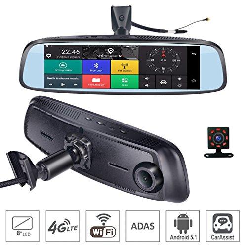 ShiZhen 8 inch 4G Touch IPS Special Car Dash Cam Rear View Reversing Mirror GPS Bluetooth WiFi Android 5.1 Dual Lens FHD 1080P