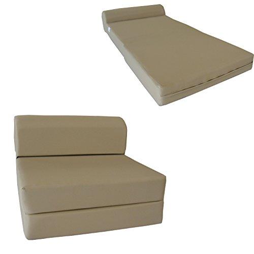 D&D Futon Furniture Tan Sleep Chair Folding Foam Bed, Sofa Mattress 6 x 32 x 70, 1.8 pounds Density Foam