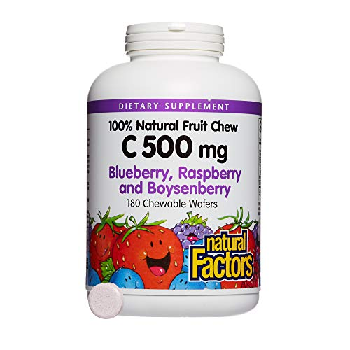 Natural Factors - Vitamin C 500mg, 100% Natural Fruit Chew, Blueberry, Raspberry, Boysenberry, 180 Chewable Wafers