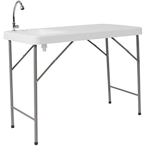 Flash Furniture 23''W x 45''L Granite White Plastic Folding Table with Sink