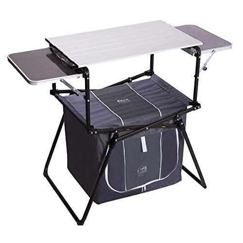Timber Ridge Camping Kitchen Table Grill Portable with Carry Bag Folding Cooking Pre Station Large Storage Volume Quick Set-up Roll up Table Top Serving Cart for Picnic, BBQ, Outdoor Activities