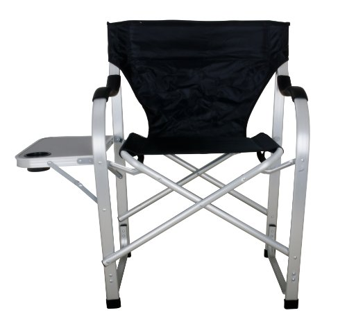 Stylish Camping Black Heavy Duty Folding Camping Director Chair with Side table