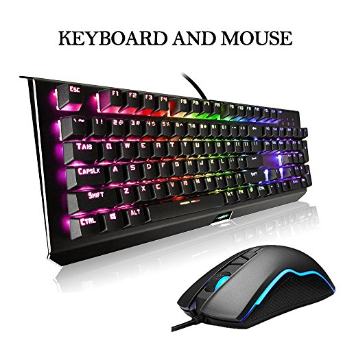 RGB Gaming Keyboard and Mouse Combo - LED Backlit Mechanical Keyboard with 104 Keys Anti Ghosting - Wired USB LED Gaming Mouse