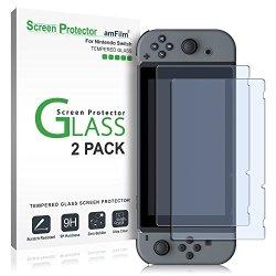 Nintendo Switch Screen Protector Glass, amFilm Nintendo Switch Tempered Glass Screen Protector for Nintendo Switch 2017 (2-Pack)
