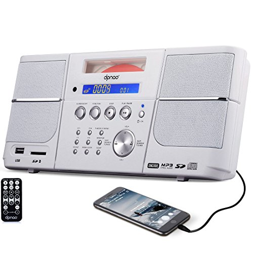 DPNAO CD Player, Portable Boombox, with FM Radio, Alarm Clock