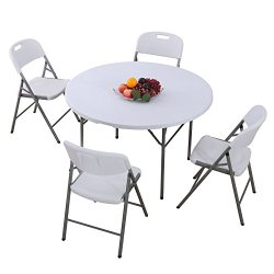 Uenjoy Folding Table and Chairs Set Indoor Outdoor Dining Party Camping Garden Patio in White