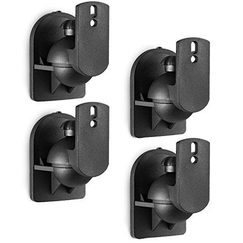 WALI Universal Speaker Wall Mount Brackets Multiple Adjustments for Bookshelf, Surrounding Sound Speakers, Hold Up to 7.7lbs, 4 Packs, Black