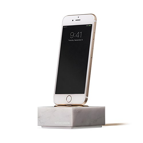 Native Union Dock+ for iPhone or iPad Marble Edition - Genuine Marble Charging Dock with [Apple MFi Certified] Reinforced Lightning Cable - Compatible with Most Apple Lightning Devices (White)