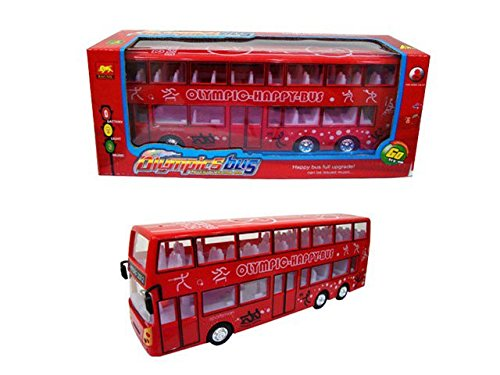 Minmi Double Decker Bus Toy, Battery Operated, Bump and Go Action, with Lights and Sounds.