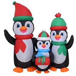 5 Foot Tall Lighted Christmas Inflatable Penguins Family