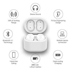 Indigi Wireless Bluetooth 4.2 in-Ear Headset w/Mic with Magnetic Charging Pod