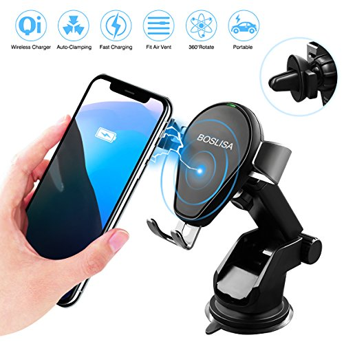 BOSLISA Auto-Clamping Qi Wireless Charger Car Mount