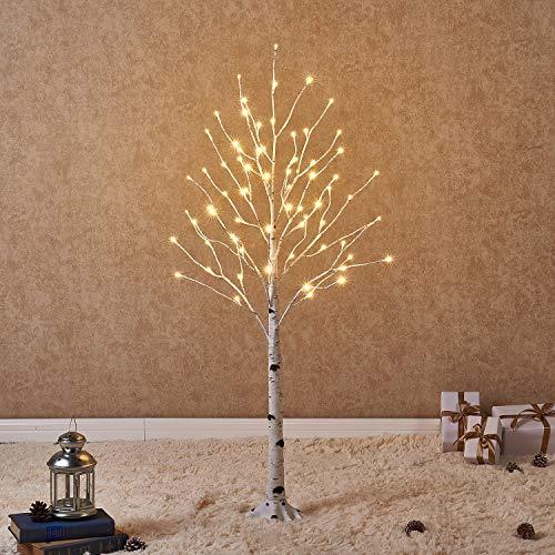Hairui Lighted Artificial White Birch Tree Pre-lit Christmas Tree